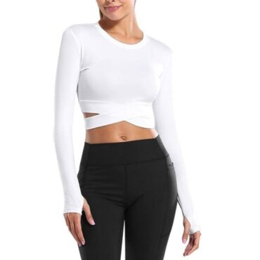White Long Sleeve Running Top - Sporty Criss Cross Design